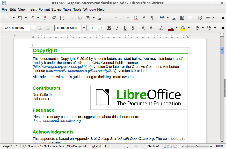 Screenshot for libreoffice