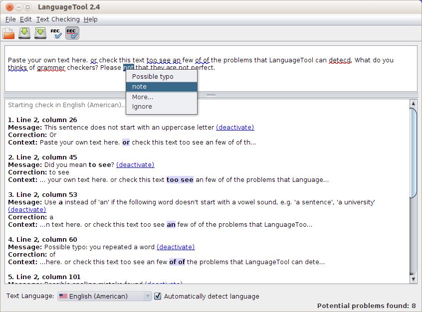 Screenshot for languagetool