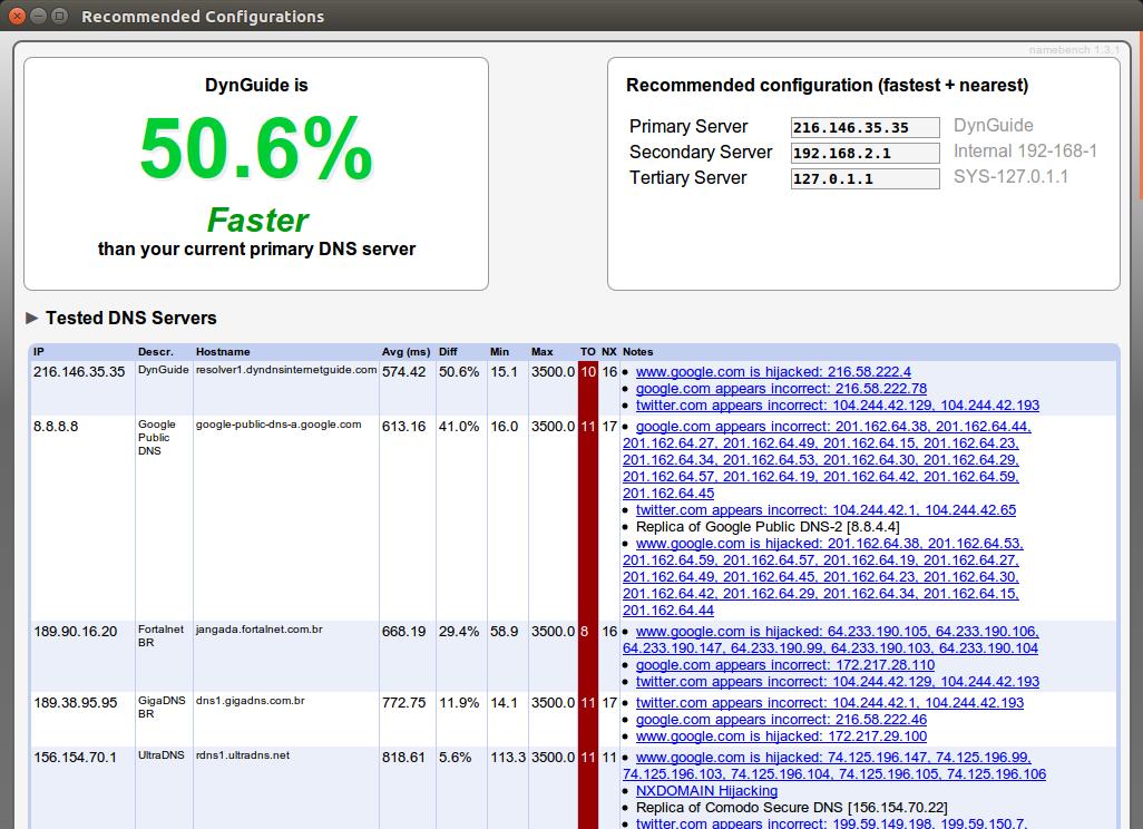 Screenshot for namebench-snap