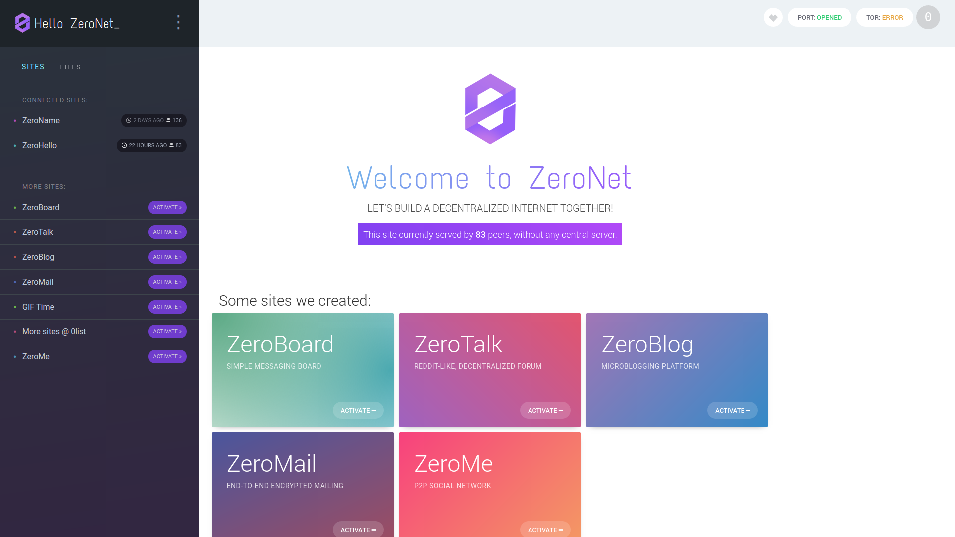 Screenshot for ZeroNet