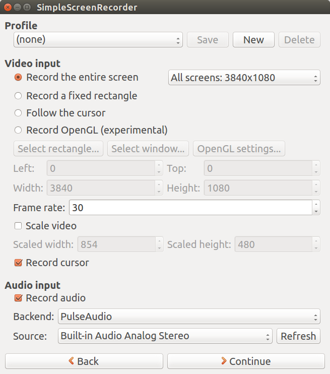 Screenshot for simplescreenrecorder