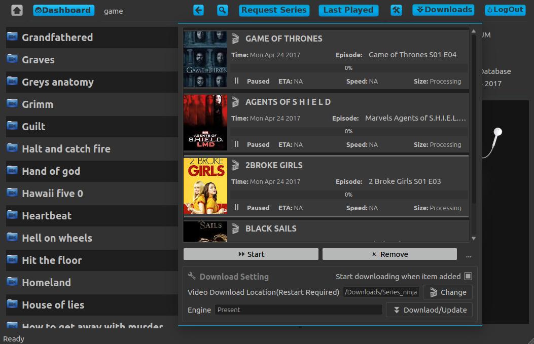 Download TV Series with Series Ninja Ubuntu Linux App