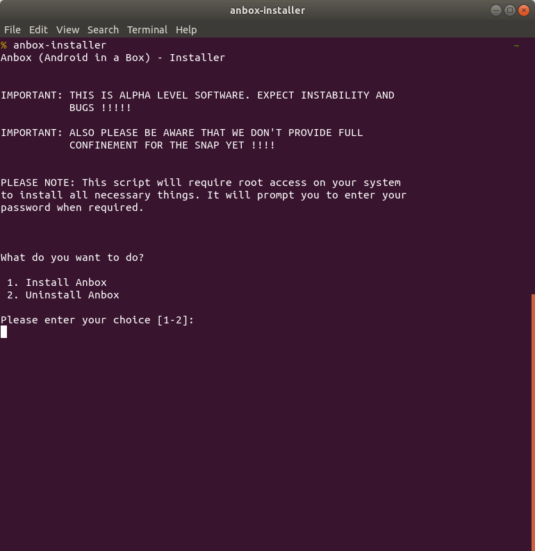 Screenshot for anbox-installer