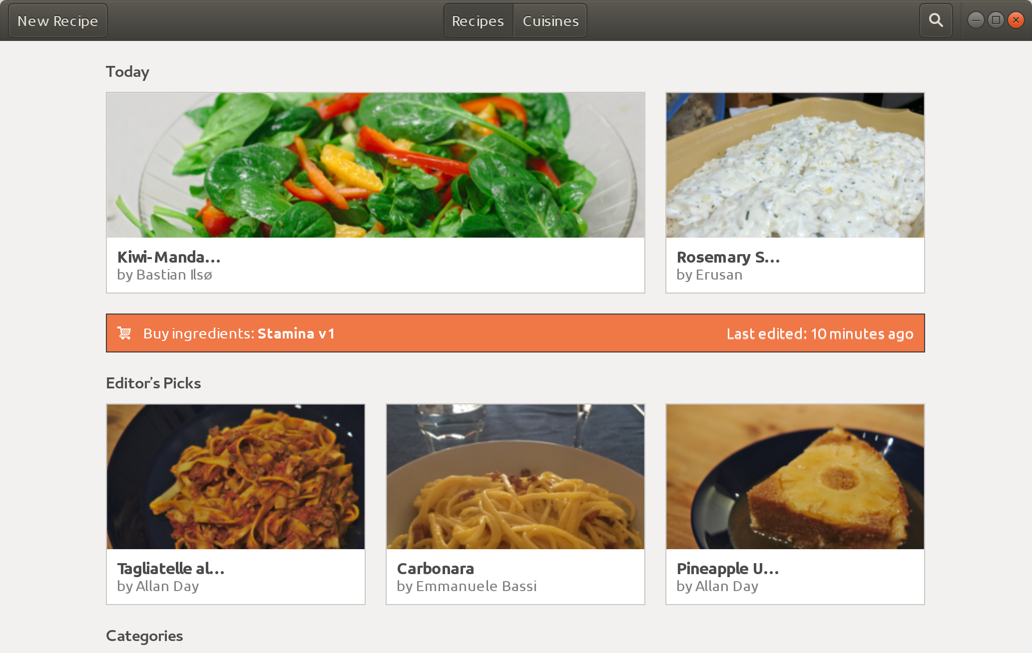 Screenshot for GNOME Recipes