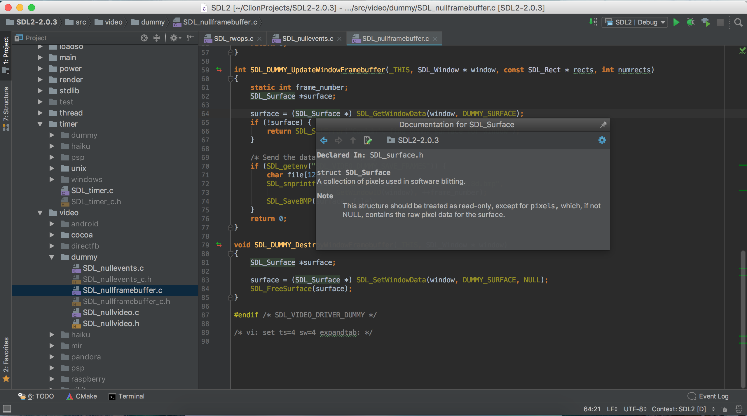 Screenshot for CLion