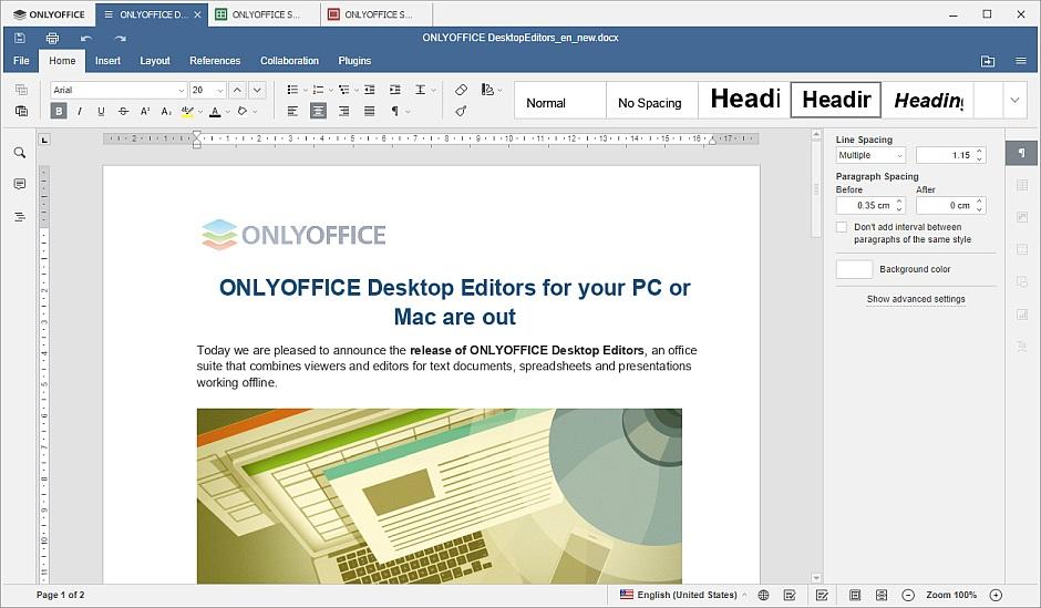 Screenshot for ONLYOFFICE DesktopEditors